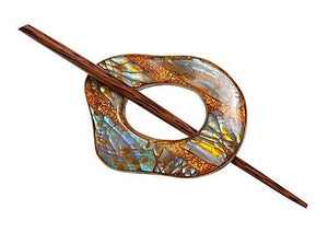 "Copper Shell Shawl Pin (2""x2"") - Fengari Fiber Arts"