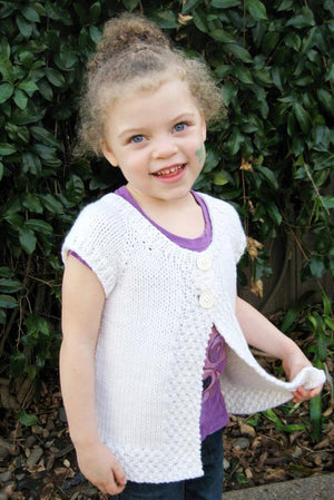 Knitting Pure & Simple 106 - Girl's Cap Sleeve Cardi Vest