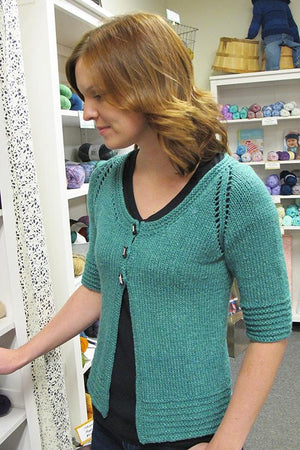 Knitting Pure & Simple 1401 - Short Sleeved 3-button Cardigan