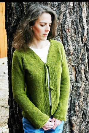 241 - Neck Down V-Neck Shaped Cardigan - Fengari Fiber Arts