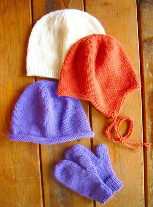 253 - Basic Hat & Mitten Set For Children - Fengari Fiber Arts