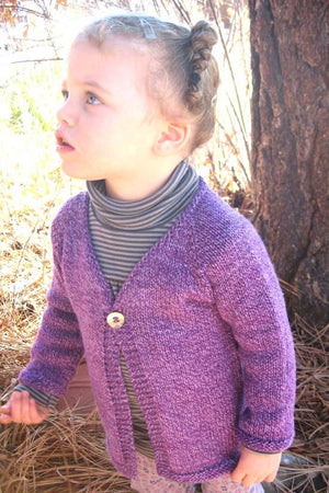 296 - Girl's One-Button Cardi - Fengari Fiber Arts
