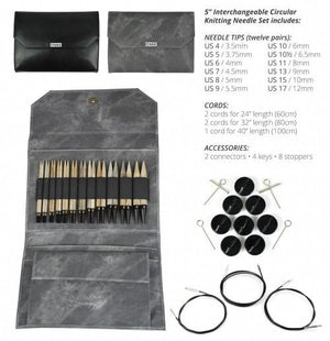 "Driftwood Interchangeable Circular Needle Set with 5"" tips - Black Faux Leather Case"