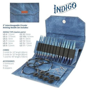 "Indigo Interchangeable Circular Needle Set with 5"" Tips"