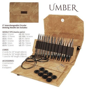 "Umber Interchangeable Circular Needle Set with 5"" Tips"