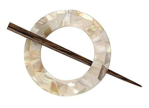 "Mother of Pearl Shawl Pin - 3"" diameter."