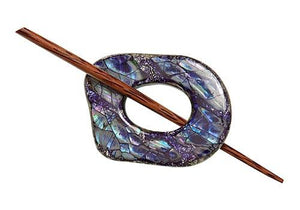 "Navy Shell Shawl Pin (2""x2"")"
