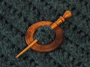 "Handmade Cherry Wood  Shawl Pin 2"" - Grooves"