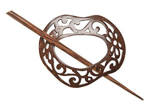 "Scrolled Freeform Coconut Shawl Pin (3""x2"")"