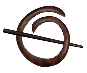 "Tiger Ebony Spiral Shawl Pin (3""x2"")"