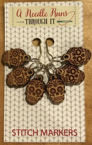 A Needle Runs Through It Stitch Markers - Sugar Skulls