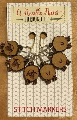 A Needle Runs Through It Stitch Markers - Sheep Front & Back