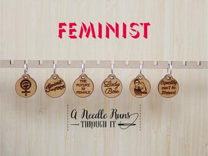 A Needle Runs Through It Stitch Markers - Feminist