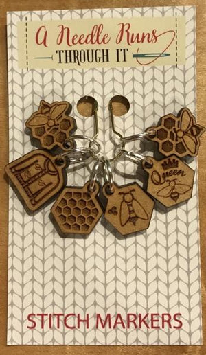 A Needle Runs Through It Stitch Markers - Beekeeper