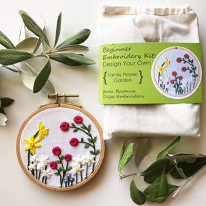 Family Flower Garden Embroidery Kit