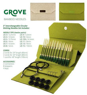"LYKKE Grove Bamboo Interchangeable Set (5"" Tips) - Green Case"