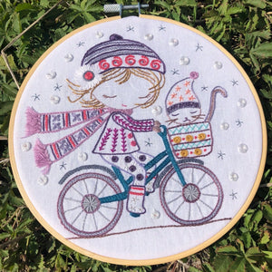 Salome Rides Her Bike Embroidery Kit