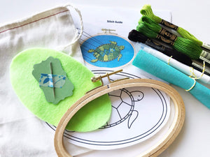 Green Sea Turtle Embroidery Kit