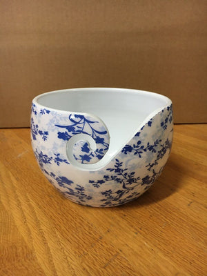 Yarn Bowl - Blue Leaves