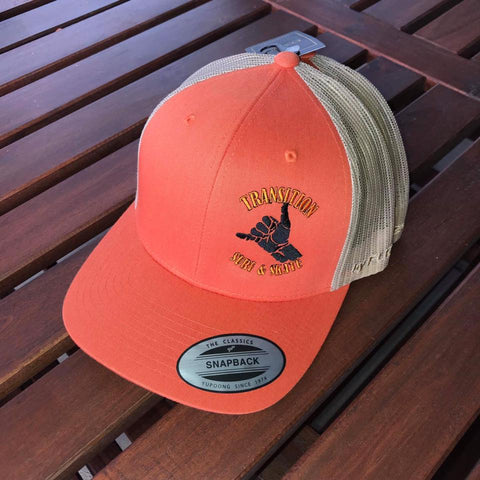 Transition Surf & Skate Flexfit Trucker Caps - Orange/Tan