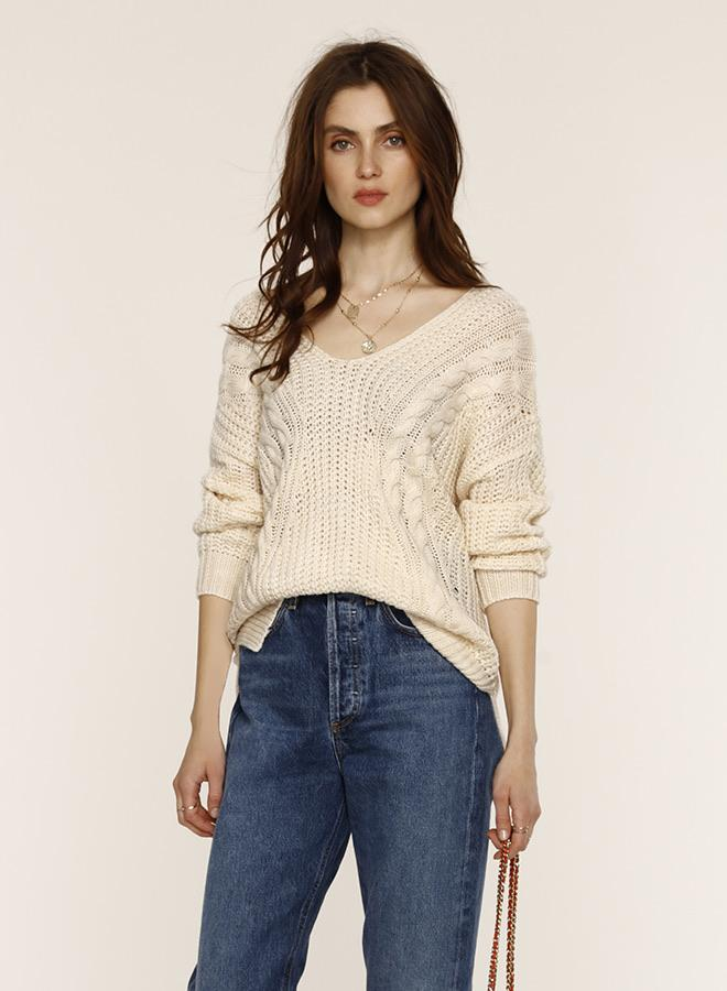 The Evon sweater paired with jeans and flats or sneakers can be a casual state to during the transition from winter to spring