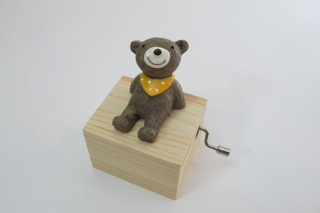 Teddy Bear Hand Crank Music Box