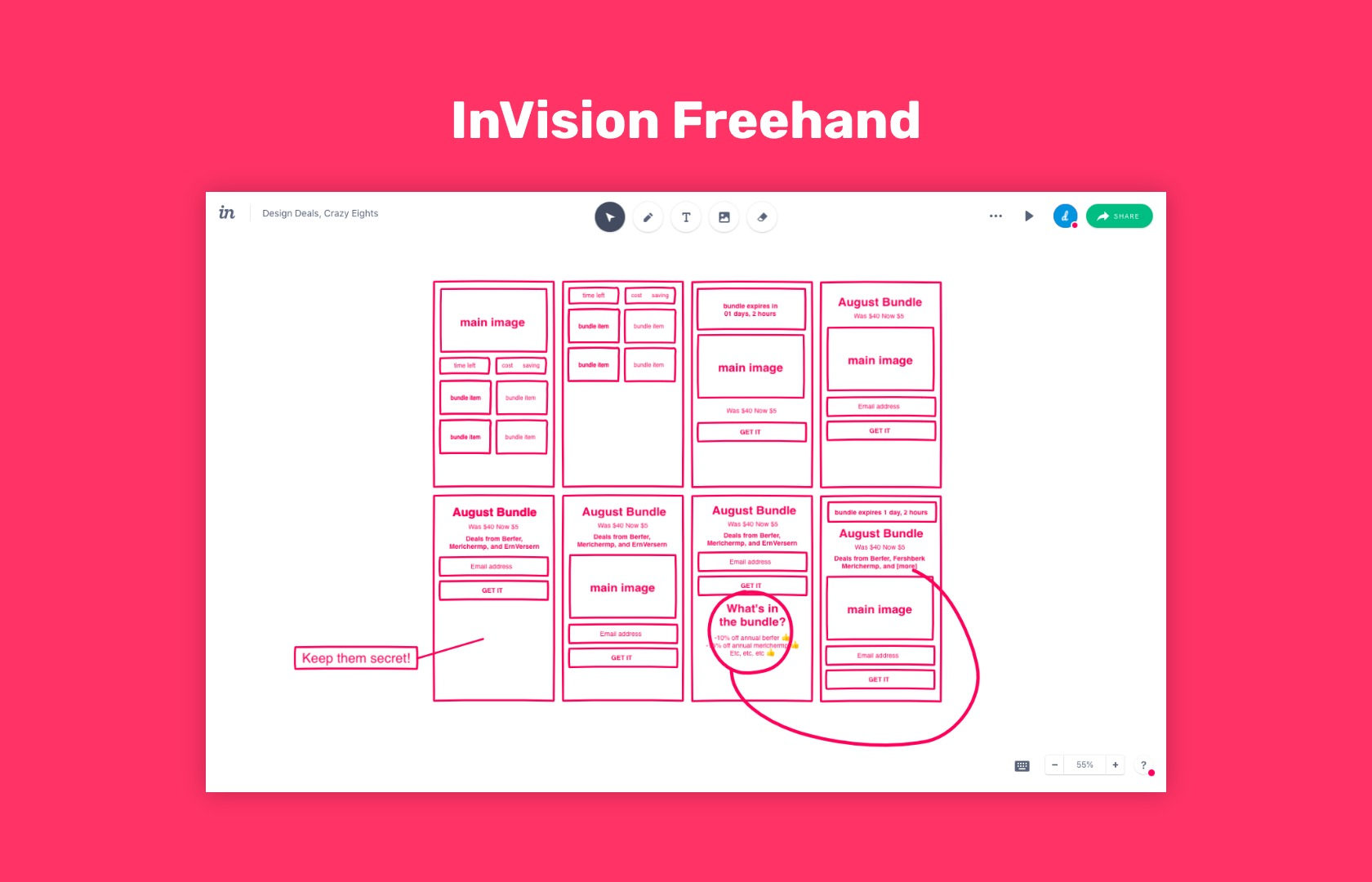 InVision Freehand, visual brainstorming tool