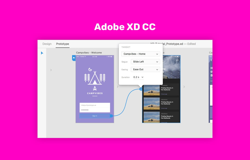 Prototyping transitions with Adobe XD