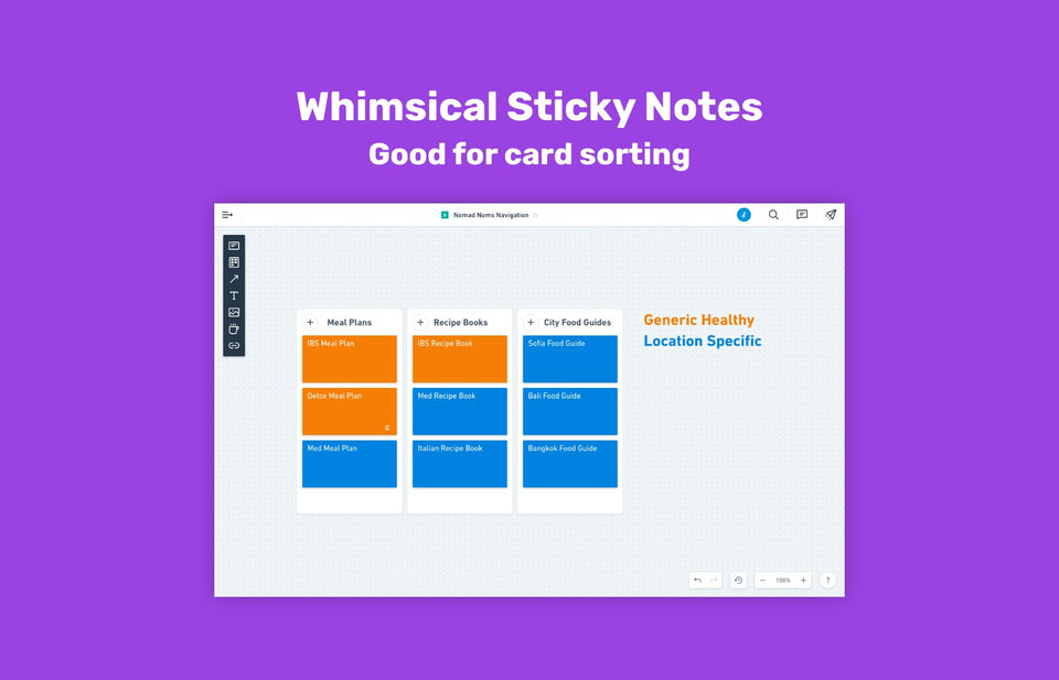 Card sorting with Whimsical Sticky Notes