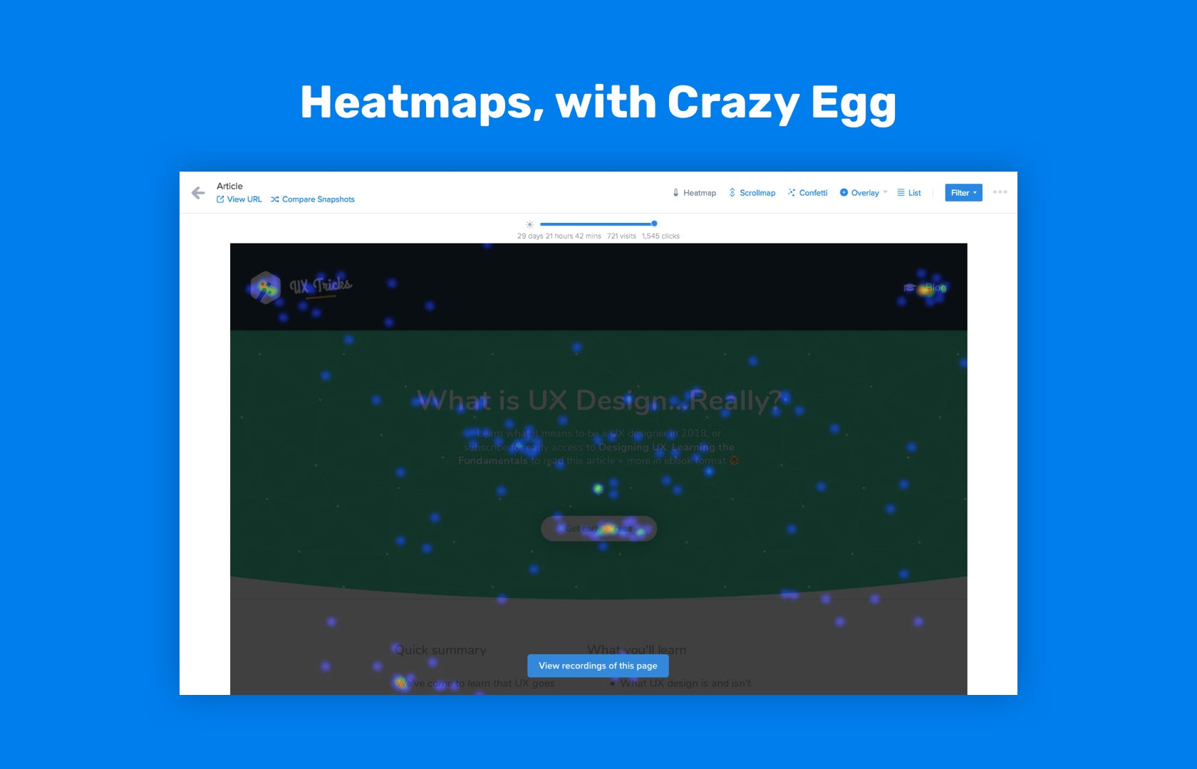 Eye-tracking test using Crazy Egg's heatmap tools