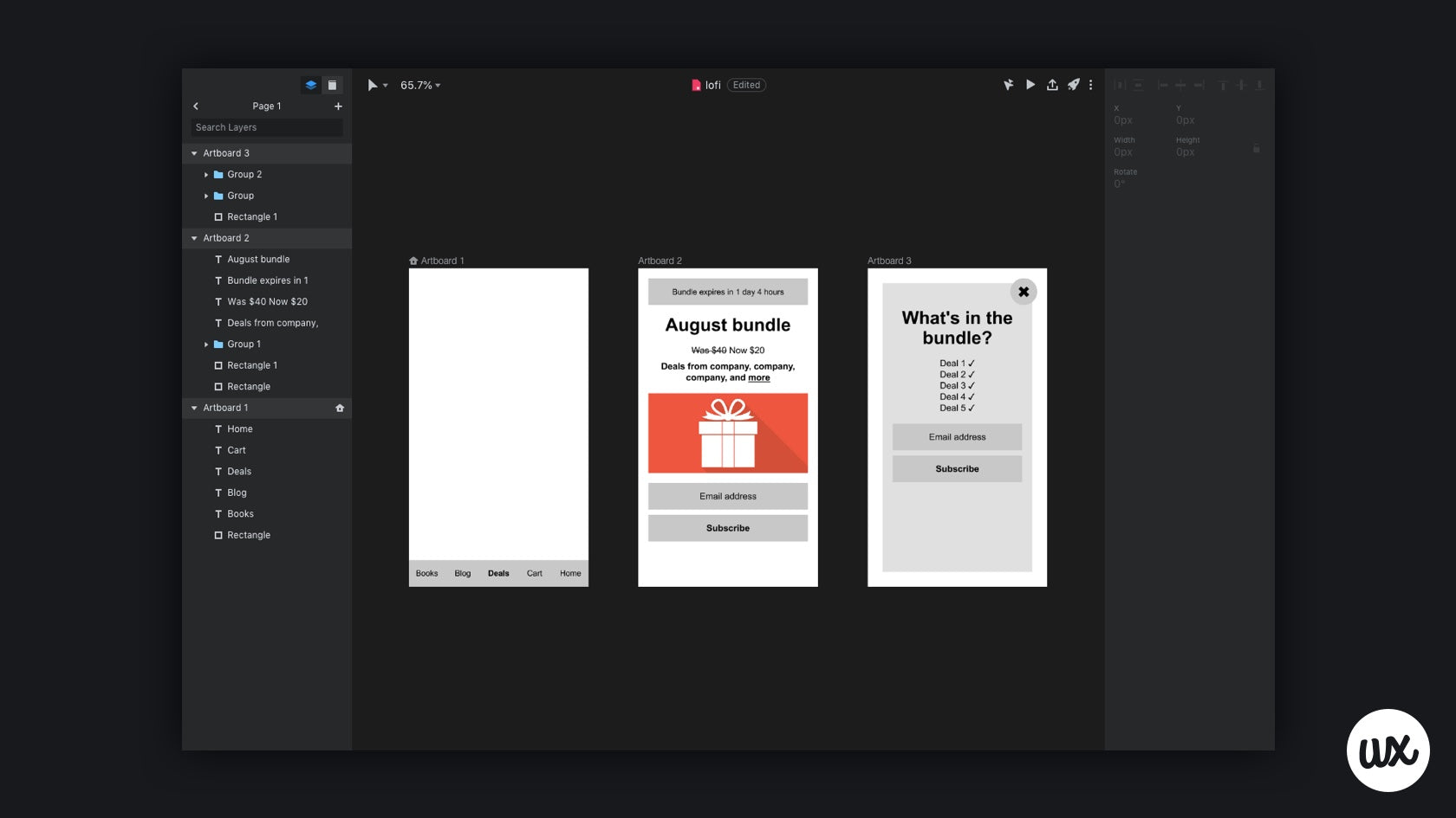 A low-fidelity wireframe made with InVision Studio