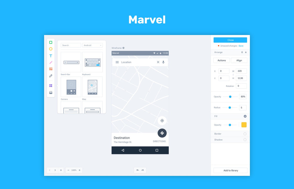 Marvel, online wireframing tool