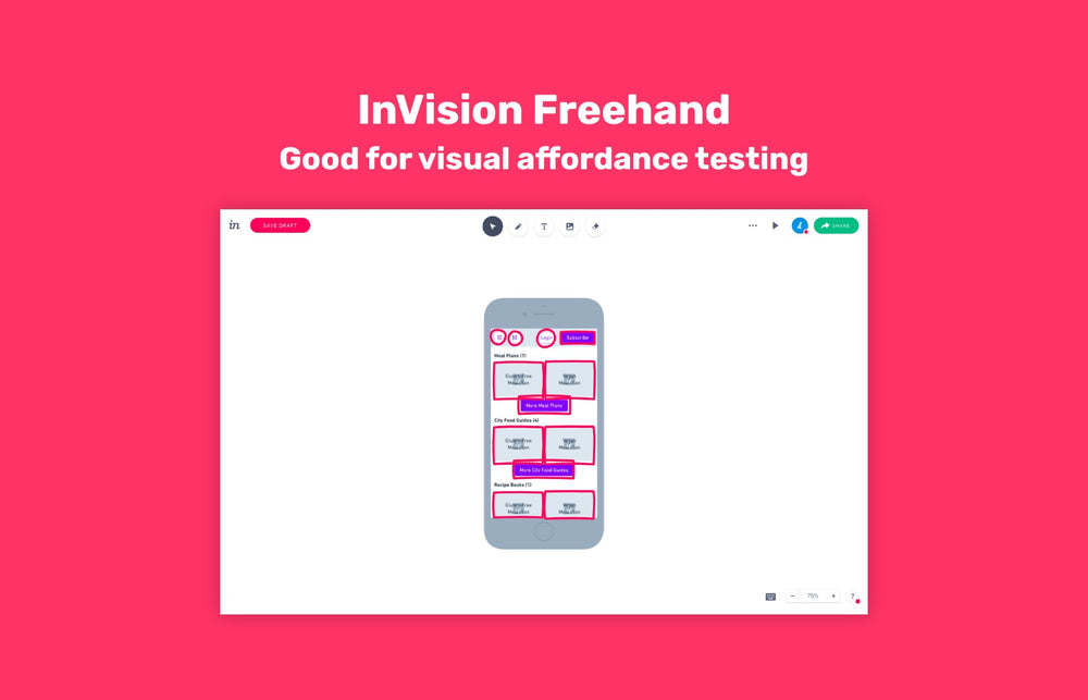 Visual affordance testing with InVision Freehand
