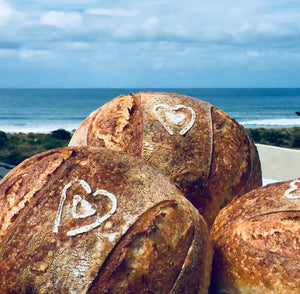 Artisan Boule Sourdough loaf with view near Mount Maunganui