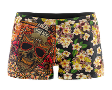 Women's Yoga Short's - Plumeria Skull