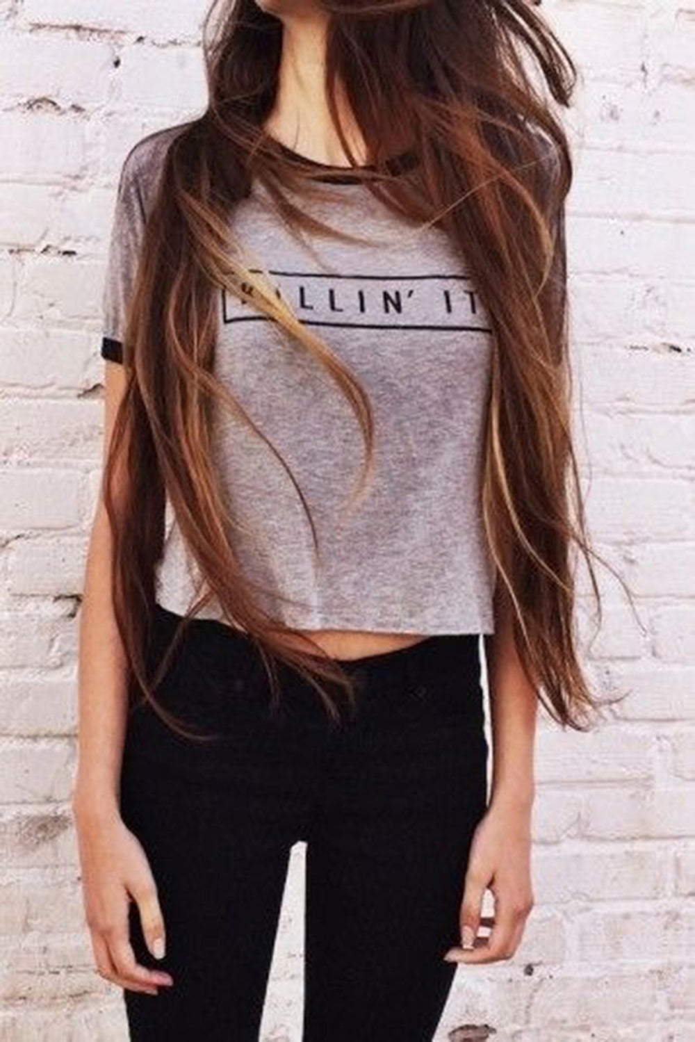 Killin It Grey Fashion  Women Summer Top  Letters Print T shirt Sexy Slim Funny Top Tee  Black Crop Tops