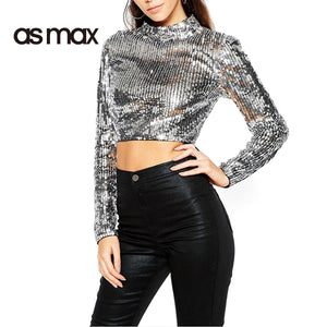 asmax New Fashion Women T-shirt Vintage Sliver Sequin Long Sleeve Crew Neck Women T-shirts Tops Sexy Casual Basic Tees T Shirt