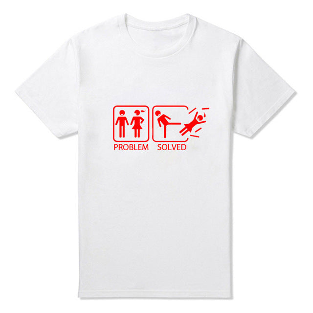New PROBLEM SOLVED T Shirts Men Cotton Short Sleeve Funny Print Man T-Shirt Free Shipping Mens tshirt Tops