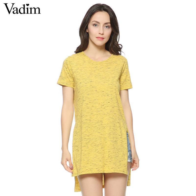 Women yellow short sleeve T shirt side split O-neck long shirts camisas femininas casual tees loose tops new arrival DT385