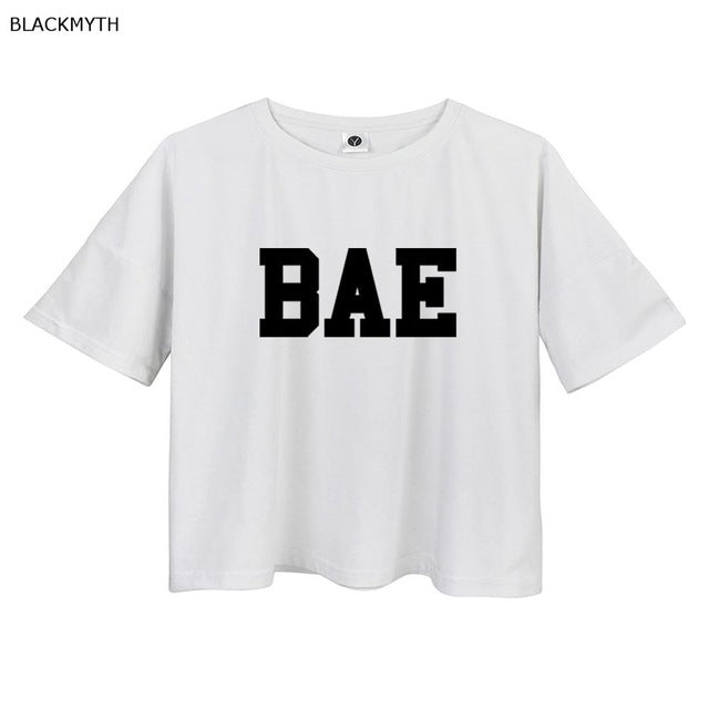 BLACKMYTH Letters BAE Print White Gray cropped t shirt women Cotton clothing short sleeve Casual t-shirts crop tops tees O Neck