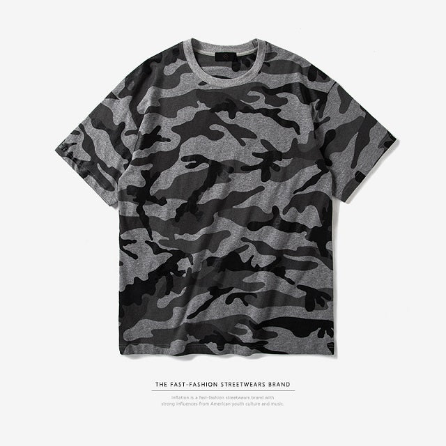 INFLATION Spring Summer Collection Men's Custom Fabric Camouflage Streetwear T-shirt