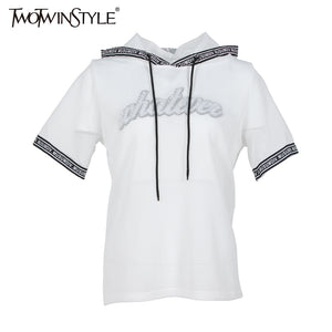 TWOTWINSTYLE Summer Women Sexy Mech Hood T Shirts Tops Sequins Letter Casual Fashion Big Sizes White