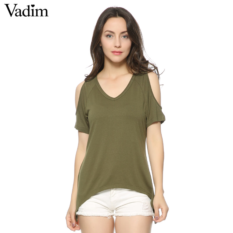 Women V neck Off shoulder shirts casual t shirt basic short sleeve tees cozy tops 5 colors ZC005