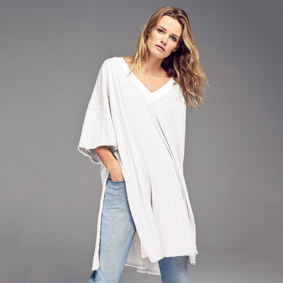 Short sleee loose high slit longline t shirts for women white oversized tees ladies stylish sexy casual grey split tunic tops