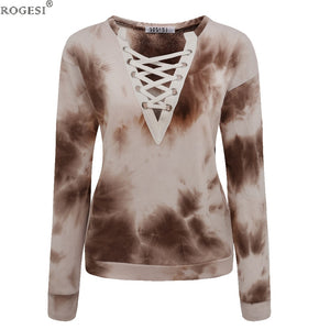 Rogesi T-shirt Long Sleeve For Women Tumblr Blusa Top V-Neck Front lace-up Color Army Green