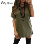 2018 fashion Sexy bandage shirt sexy women deep v neck top women tops short sleeve hollow out nightclub women cotton t shirt