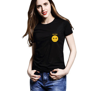 JUNYQ Summer T-shirt for Women Casual Top Cotton Brand Printed Pocket S-4XL