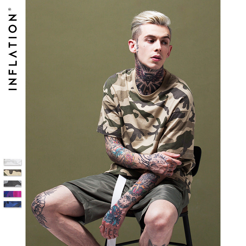 INFLATION 2017 Spring Summer Collection Custom Fabric Camouflage Men Tshirt Streetwear Camo Tee Hip Hop Fashion Mens T-Shirt