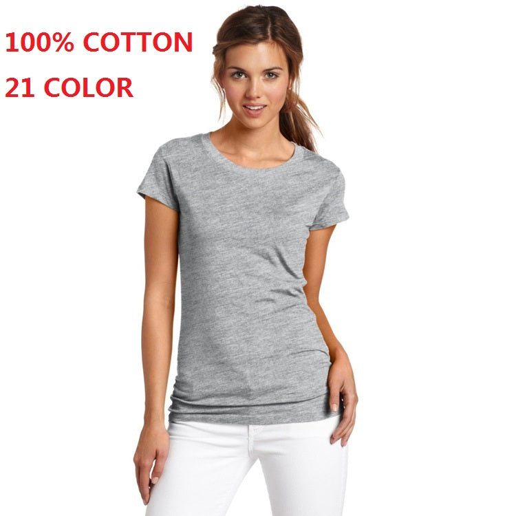 2018 100% Cotton High Quality 21 Color Summer Fashion T Shirt Women Basic T-shirts Female Casual Tops Short Sleeve T-shirt Women