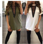 2017 Plus Size Summer Blusas Women V-Neck Short Sleeve T-Shirts Solid Cotton T Shirts Sexy Holes Loose Women Top Basic Tee GV542